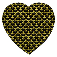 Scales3 Black Marble & Yellow Leather (r) Jigsaw Puzzle (heart)