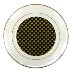 Scales3 Black Marble & Yellow Leather (r) Porcelain Plates