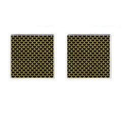 Scales3 Black Marble & Yellow Leather (r) Cufflinks (square)
