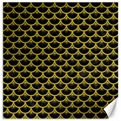 Scales3 Black Marble & Yellow Leather (r) Canvas 16  X 16