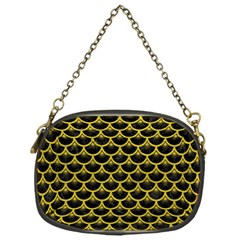 Scales3 Black Marble & Yellow Leather (r) Chain Purses (one Side)