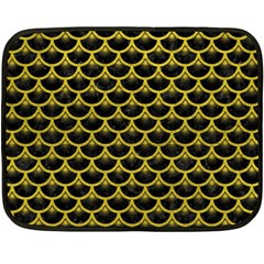Scales3 Black Marble & Yellow Leather (r) Double Sided Fleece Blanket (mini)