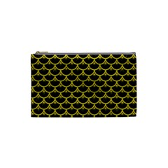 Scales3 Black Marble & Yellow Leather (r) Cosmetic Bag (small)