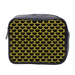 Scales3 Black Marble & Yellow Leather (r) Mini Toiletries Bag 2 Side