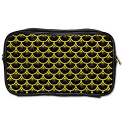 Scales3 Black Marble & Yellow Leather (r) Toiletries Bags 2 Side
