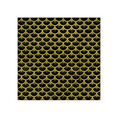 Scales3 Black Marble & Yellow Leather (r) Acrylic Tangram Puzzle (4  X 4 )