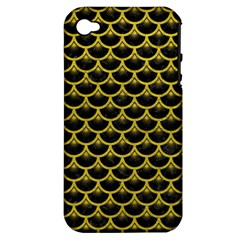 Scales3 Black Marble & Yellow Leather (r) Apple Iphone 4/4s Hardshell Case (pc+silicone)