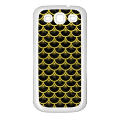 Scales3 Black Marble & Yellow Leather (r) Samsung Galaxy S3 Back Case (white)