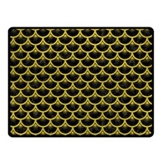 Scales3 Black Marble & Yellow Leather (r) Double Sided Fleece Blanket (small)