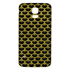 Scales3 Black Marble & Yellow Leather (r) Samsung Galaxy S5 Back Case (white)