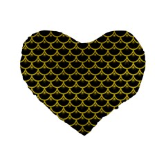 Scales3 Black Marble & Yellow Leather (r) Standard 16  Premium Flano Heart Shape Cushions