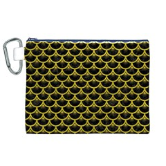 Scales3 Black Marble & Yellow Leather (r) Canvas Cosmetic Bag (xl)