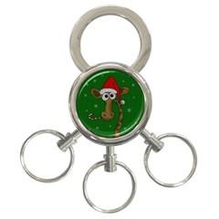 Christmas Giraffe  3 Ring Key Chains
