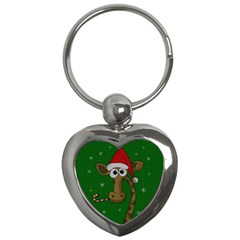Christmas Giraffe  Key Chains (heart)