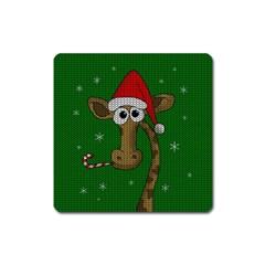 Christmas Giraffe  Square Magnet