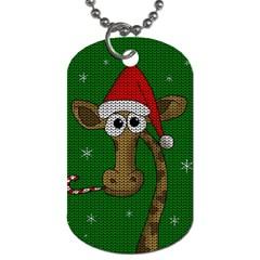 Christmas Giraffe  Dog Tag (one Side)