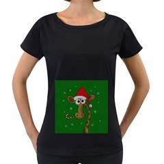 Christmas Giraffe  Women s Loose Fit T Shirt (black)