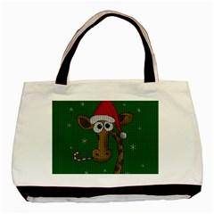 Christmas Giraffe  Basic Tote Bag