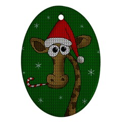 Christmas Giraffe  Oval Ornament (two Sides)
