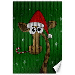 Christmas Giraffe  Canvas 12  X 18