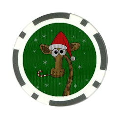 Christmas Giraffe  Poker Chip Card Guard (10 Pack)