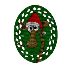 Christmas Giraffe  Ornament (oval Filigree)