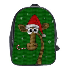 Christmas Giraffe  School Bag (xl)