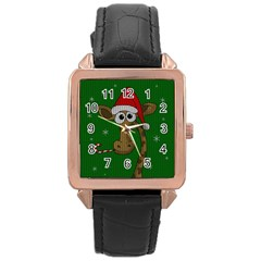 Christmas Giraffe  Rose Gold Leather Watch