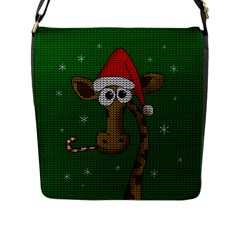 Christmas Giraffe  Flap Messenger Bag (l)
