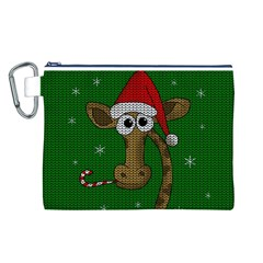 Christmas Giraffe  Canvas Cosmetic Bag (l)