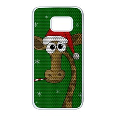 Christmas Giraffe  Samsung Galaxy S7 White Seamless Case