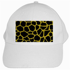Skin1 Black Marble & Yellow Leather White Cap