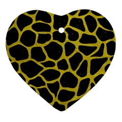 Skin1 Black Marble & Yellow Leather Ornament (heart)