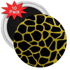 Skin1 Black Marble & Yellow Leather 3  Magnets (10 Pack)