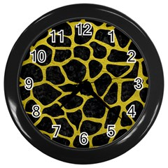 Skin1 Black Marble & Yellow Leather Wall Clocks (black)