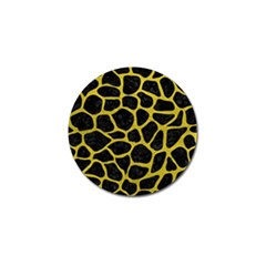 Skin1 Black Marble & Yellow Leather Golf Ball Marker (4 Pack)