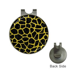Skin1 Black Marble & Yellow Leather Hat Clips With Golf Markers