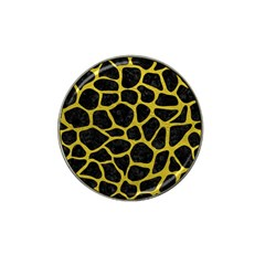 Skin1 Black Marble & Yellow Leather Hat Clip Ball Marker