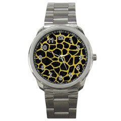 Skin1 Black Marble & Yellow Leather Sport Metal Watch