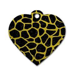 Skin1 Black Marble & Yellow Leather Dog Tag Heart (one Side)