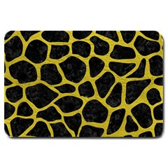 Skin1 Black Marble & Yellow Leather Large Doormat