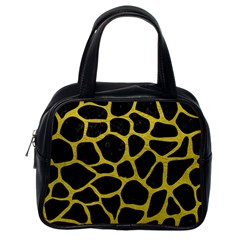 Skin1 Black Marble & Yellow Leather Classic Handbags (one Side)