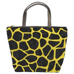 Skin1 Black Marble & Yellow Leather Bucket Bags