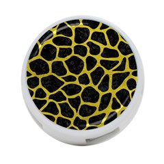 Skin1 Black Marble & Yellow Leather 4 Port Usb Hub (two Sides)