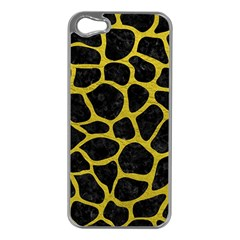 Skin1 Black Marble & Yellow Leather Apple Iphone 5 Case (silver)