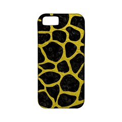 Skin1 Black Marble & Yellow Leather Apple Iphone 5 Classic Hardshell Case (pc+silicone)