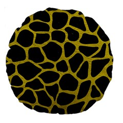 Skin1 Black Marble & Yellow Leather Large 18  Premium Round Cushions