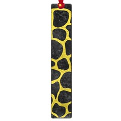 Skin1 Black Marble & Yellow Leather Large Book Marks