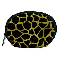 Skin1 Black Marble & Yellow Leather Accessory Pouches (medium)