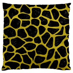 Skin1 Black Marble & Yellow Leather Standard Flano Cushion Case (one Side)